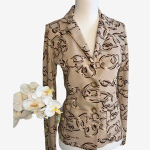 Altea Made in Italy, Tan Chain Print Blazer Sz 40